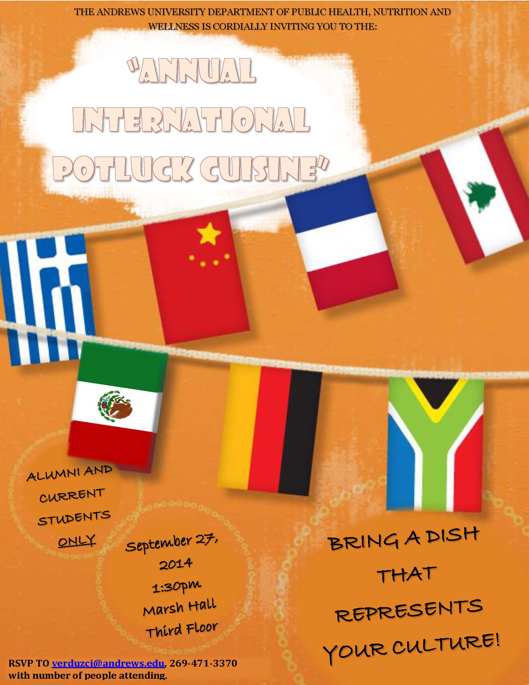 Annual International Potluck Cuisine Andrews Agenda Andrews