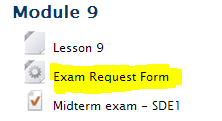Example of Exam Request Form Link