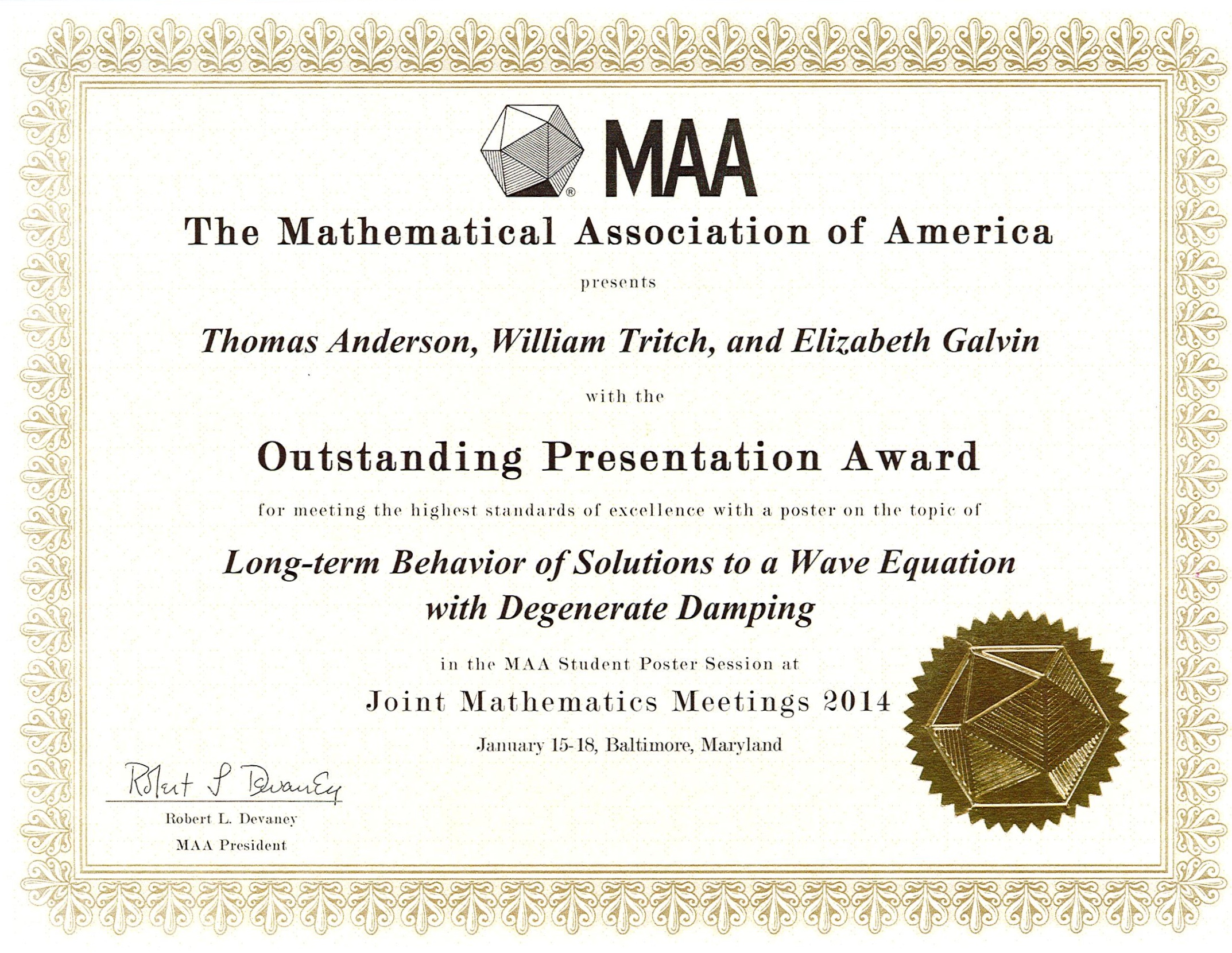 Student research and creative scholarship andrews university mathematical association of america presentation award xflitez Gallery