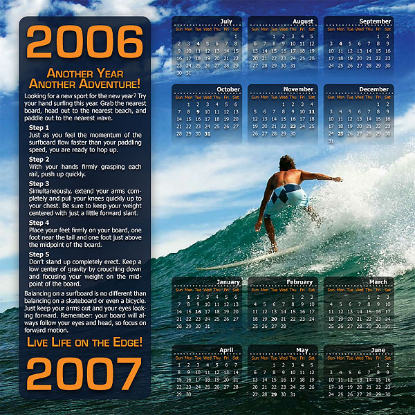 Single page one year calendar for a Surfing Magazine. | Illustrator ...