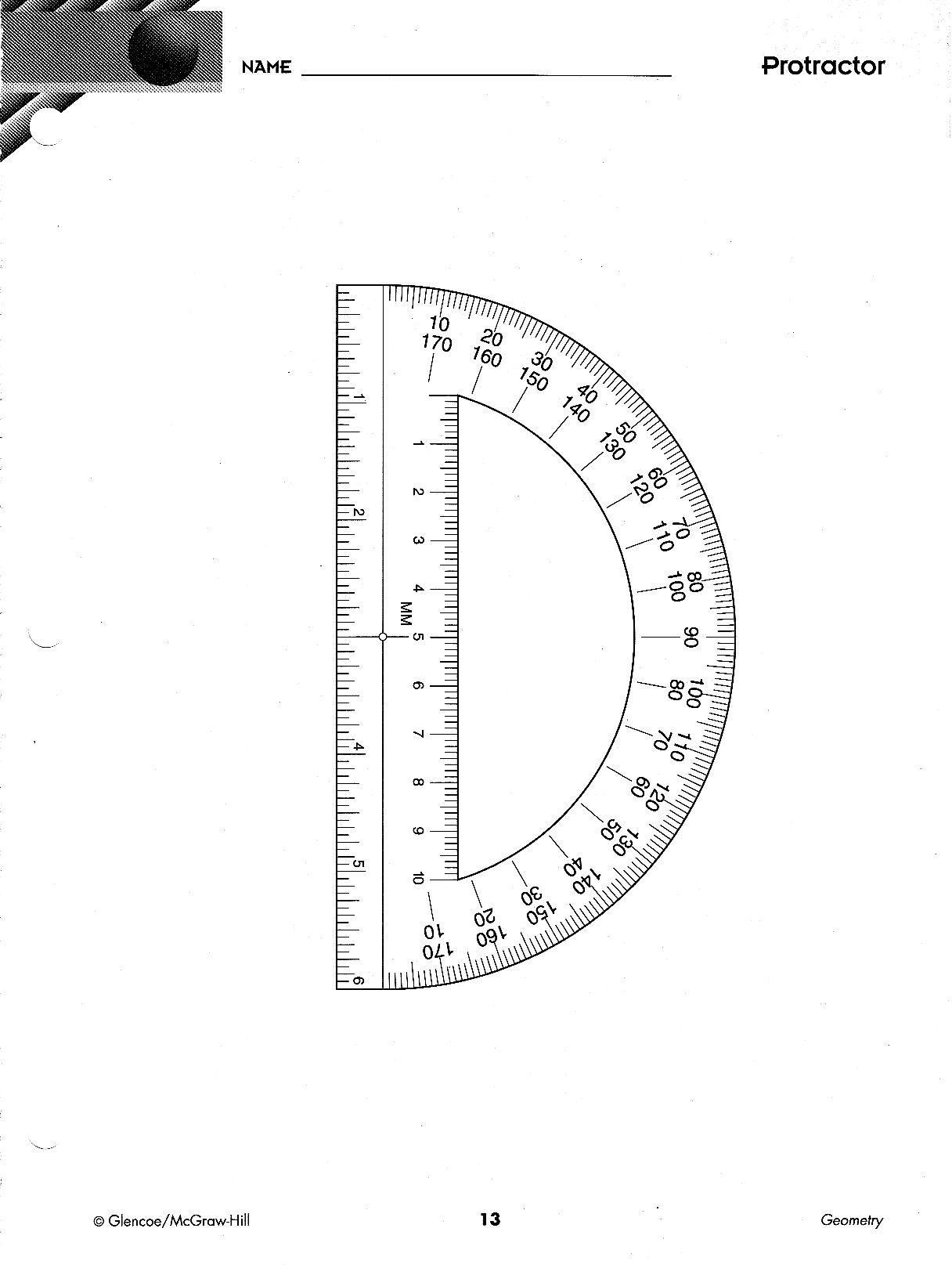 worksheet Print Protractor precalculus paper and patterns 13 protractor print on clear plastic jpg